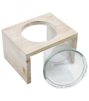 Sklenená nádoba - Xavannah v drevenom stojane