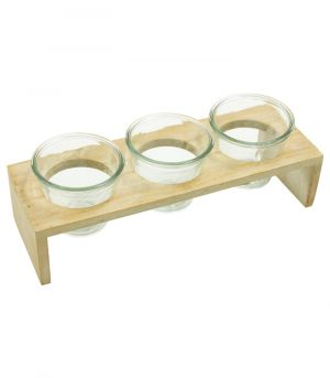 Drevený stojan s tromi sklenenými nádobami - Creme