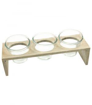 Drevený stojan s tromi sklenenými nádobami - Grey