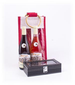 Darčeková jutová taška s 2 ks vína a sommelierska súprava