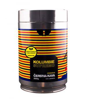 Čerstvá káva Kolumbia Supremo, mletá, dóza