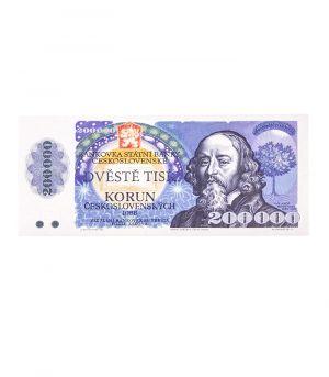 Bankovka štátnej banky československej 200 000 Kčs, 60g