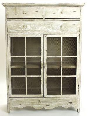 Drevená dekoračná komoda - Xandra, šedobiela