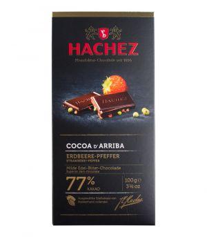 Extra horká čokoláda - jahody a zelené korenie, Bremer Hachez chocolade Gmbh