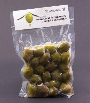 Originálne grécke olivy zelené s cesnakom, vákuované, D.M.Hermes