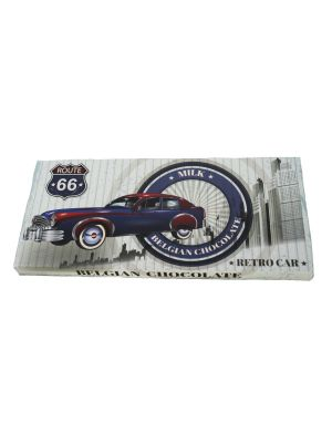 Belgická mliečna čokoláda Retro cars - modré auto 400g