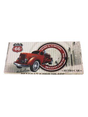 Belgická horká čokoláda s mandľami Retro cars - červené auto 400 g