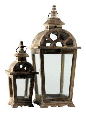 Drevený lampáš, sada 2 kusov - LT0036bx