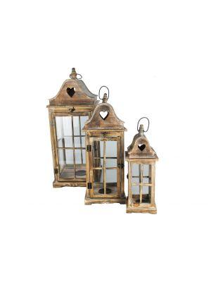 Drevené lampáše, sada 3 kusov - LT0031bx