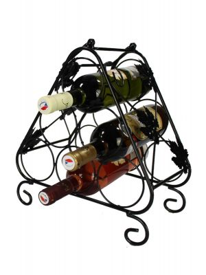 Stojan na víno na 6 lahví, černý - STOV