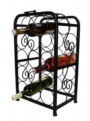 Stojan na víno na 14 lahví, černý - STOV